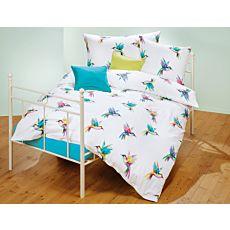 Linge de lit orné de colibris colorés