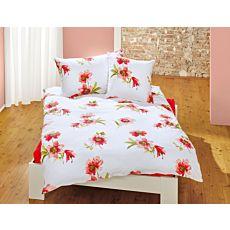 Linge de lit avec fleurs rouge-orange sur fond blanc