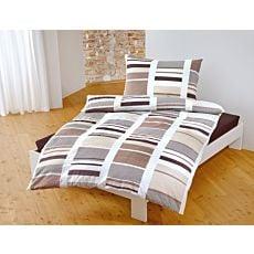 Linge de lit avec motif de rayures aux couleurs de la terre