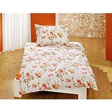 Linge de lit blanc avec superbe motif floral orange