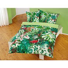 Linge de lit avec motifs de jungle en différents tons de vert