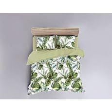 Linge de lit imprimé de feuilles vertes