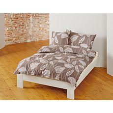 Bio Satin Bettwäsche mit Blätterprint auf braunem Untergrund