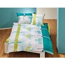 Linge de lit orné de cercles et de feuilles en vert estival