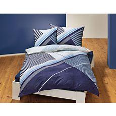 Linge de lit orné d'un beau motif de rayures dans les tons de bleu
