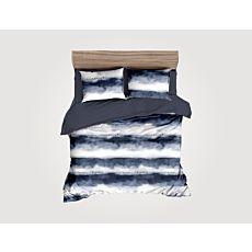 Linge de lit orné de différentes rayures en blanc-bleu