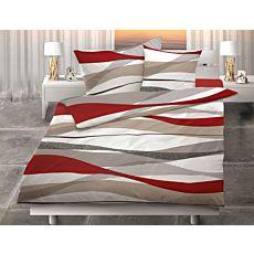 Bettwäsche mit modernem Wellenmuster in Erdtönen und rotem Akzent