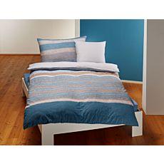 Bettwäsche Querstreifenmix beige-blau