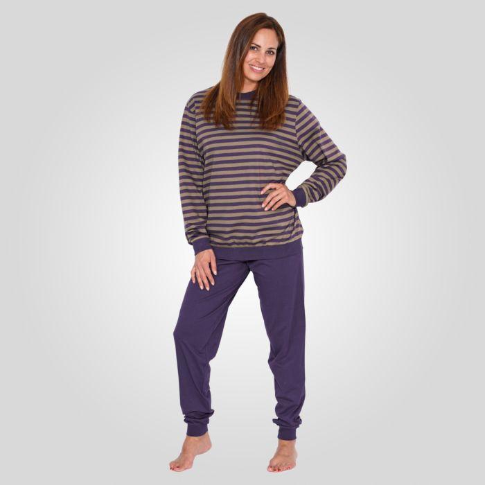 Damen-Pyjama mit gestreiftem Oberteil