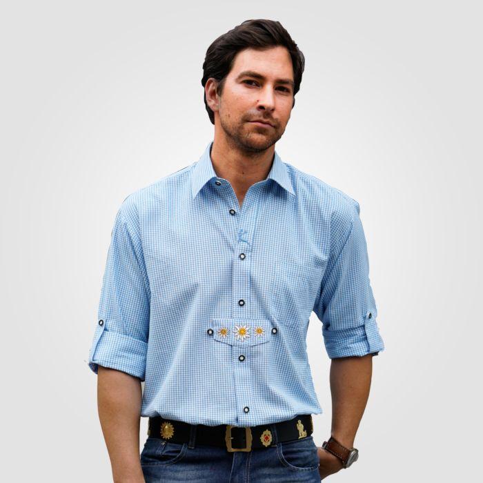 Chemise bavarois à manches longues, bleu à carreaux