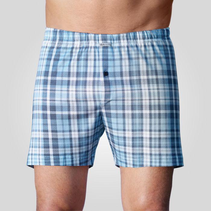 ISA Boxershorts Karo-Muster blau-weiss