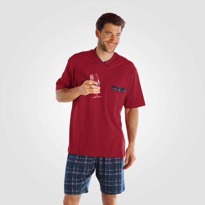 Shorty-Pyjama rot-blau mit bedruckten Shorts