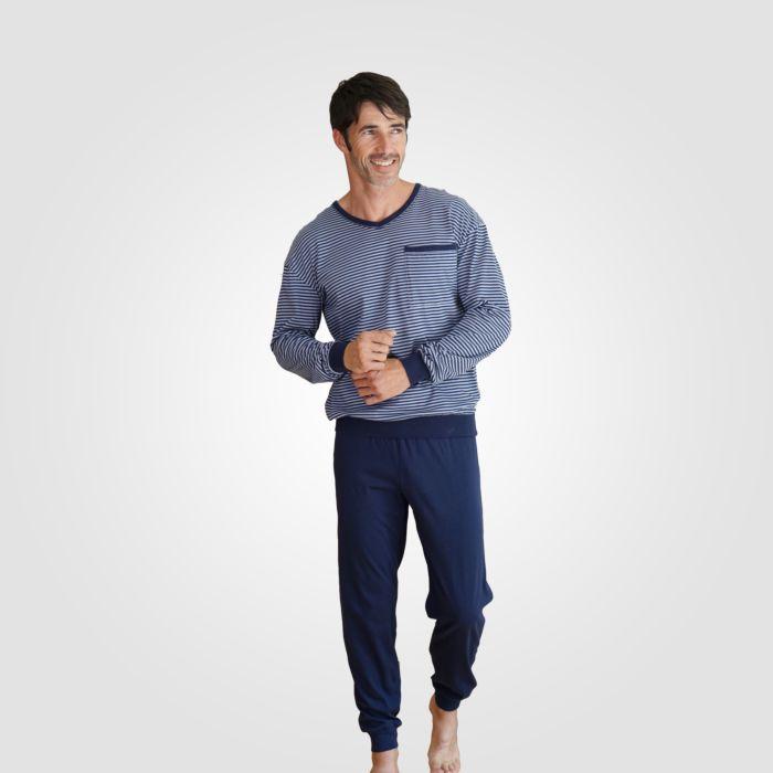 Pyjama im Streifen-Look 100% Baumwolle
