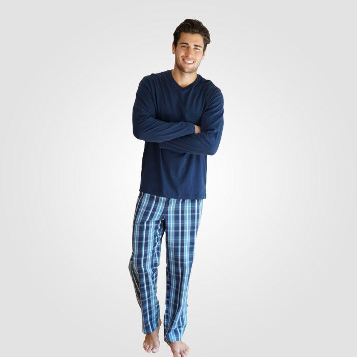 Pyjama marine-hellblau mit Seitenschlitzen