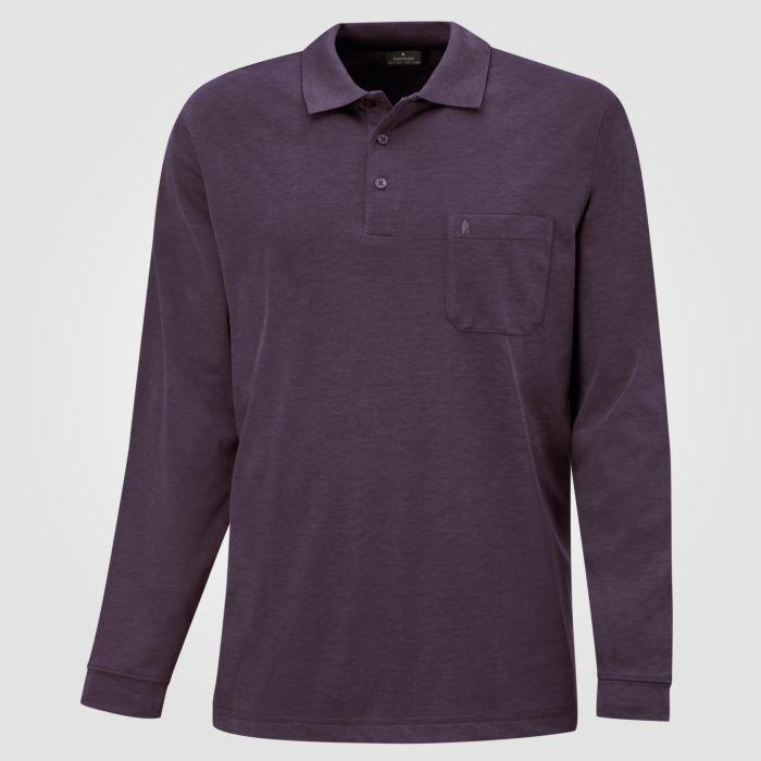Ragman Herren-Poloshirt langarm uni