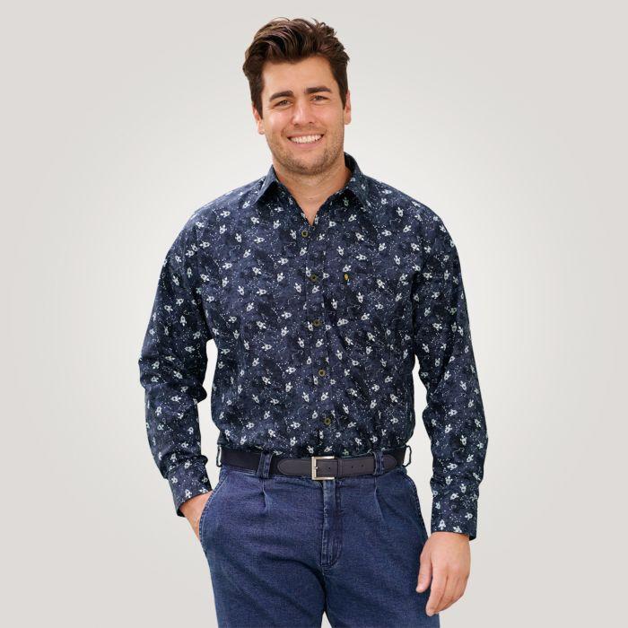Langarmhemd Herren mit grafischem Print marine