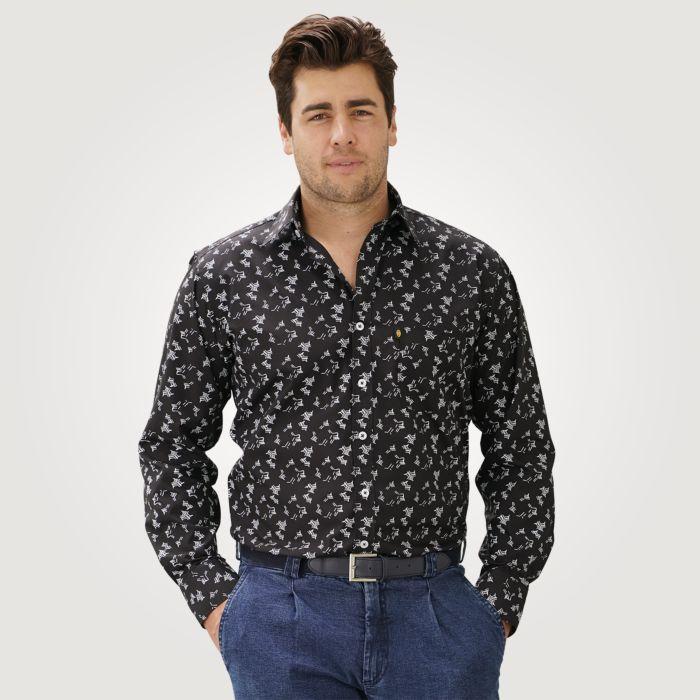 Langarmhemd Herren mit grafischem Print schwarz