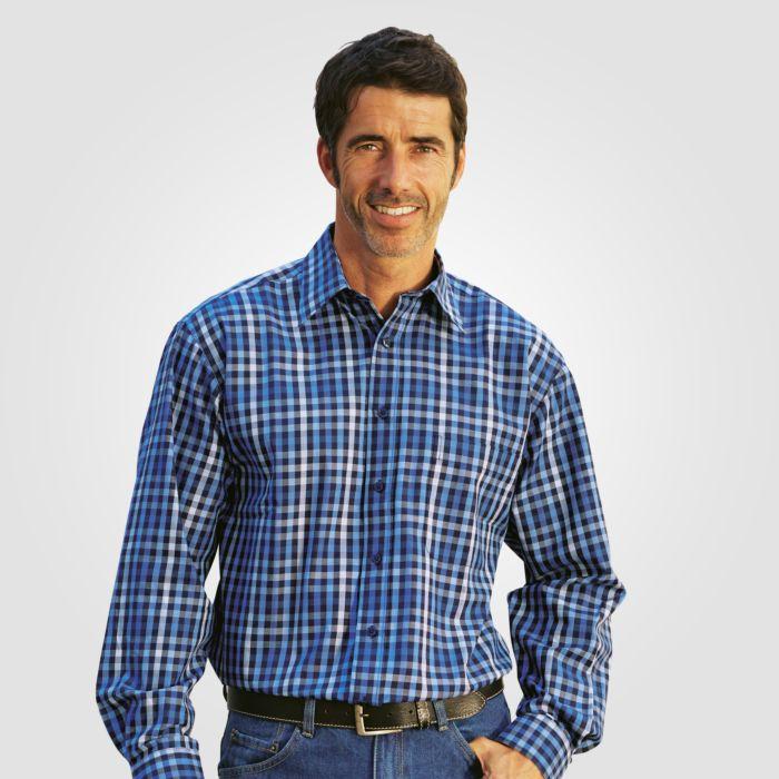 Herren-Langarmhemd blau kariert