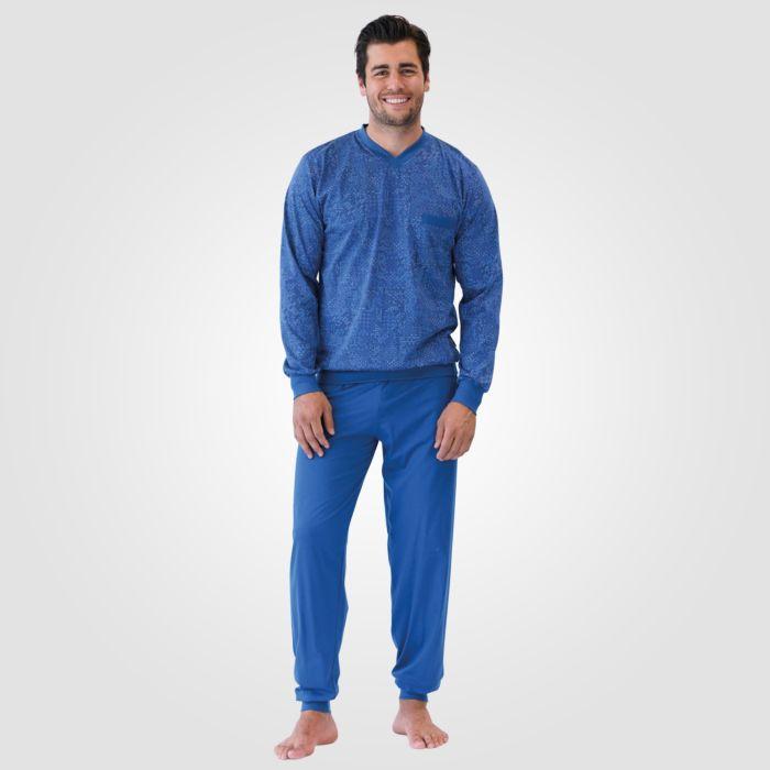 ISA Herren Pyjama lang, blau gemustert