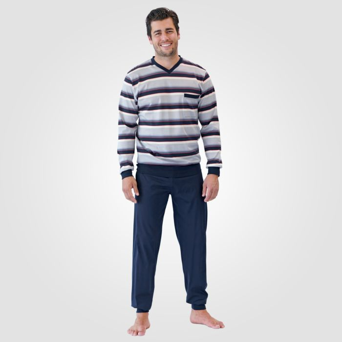 Pyjama hommes ISA, rayé navy