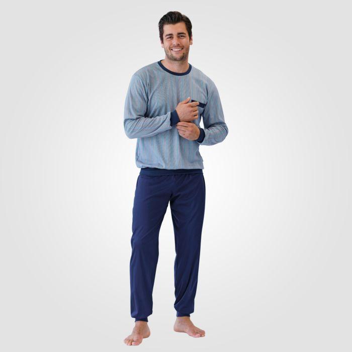Pyjama hommes ISA, turquoise à rayures