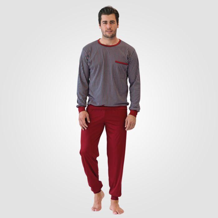 ISA Herren Pyjama rot-blau gestreift