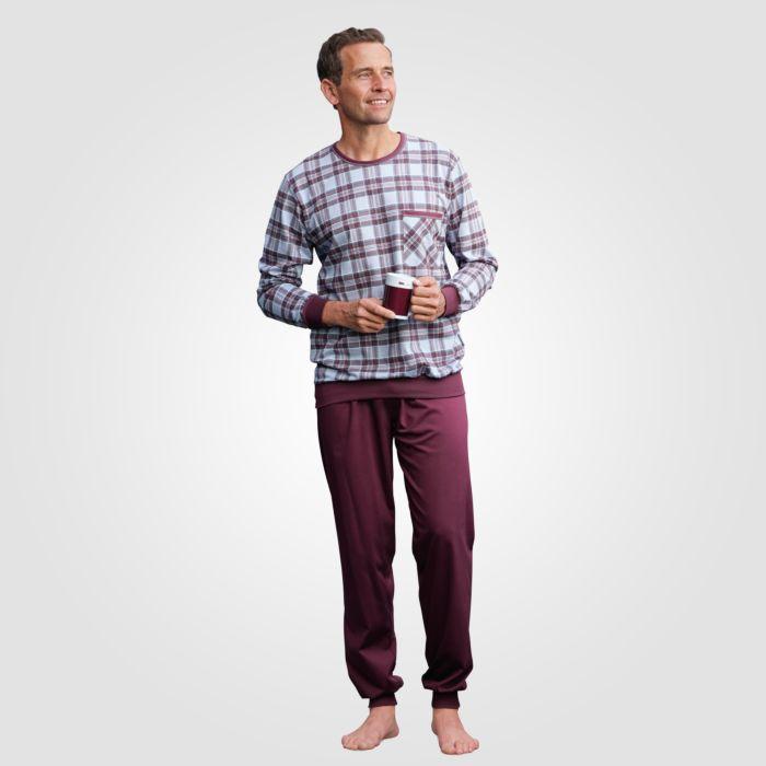 Pyjama hommes ISA, à carreaux bordeaux-bleu-gris