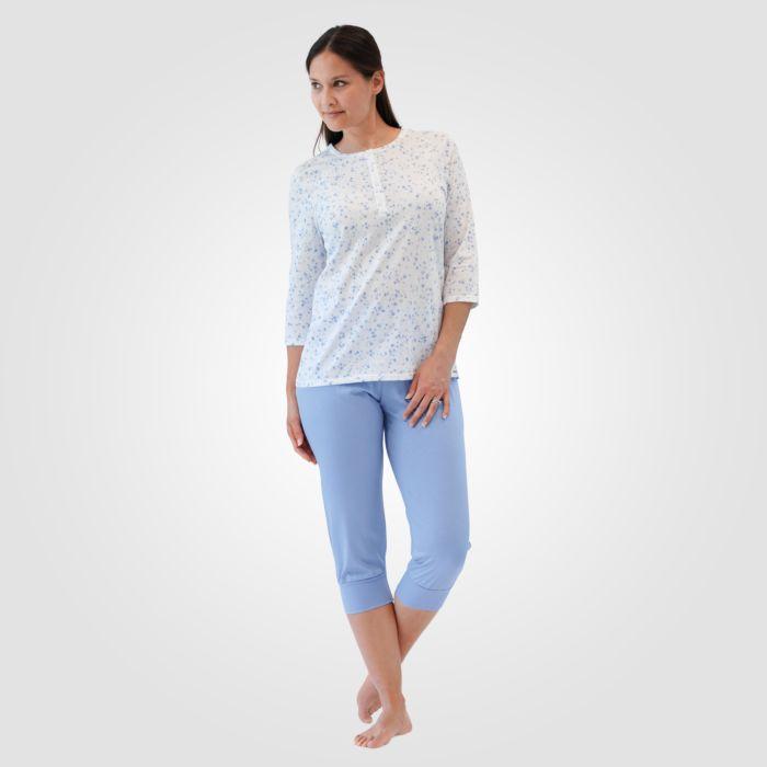 Pyjama corsaire ISA pour dames, motif fleuri, bleu clair-blanc