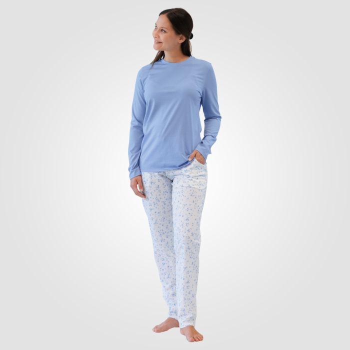 ISA Damen Pyjama Blumenmuster hellblau-weiss
