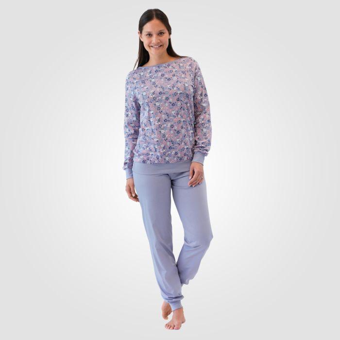 ISA Damen Pyjama hellgrau-lila gemustert