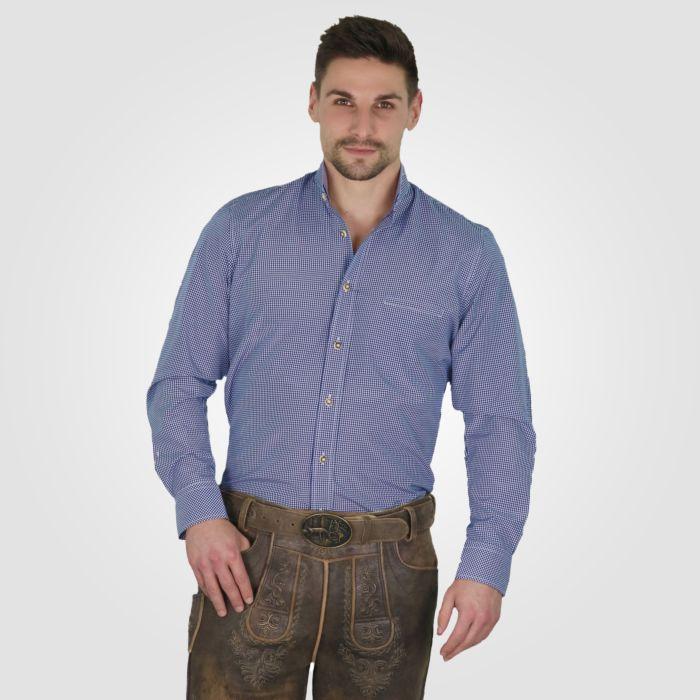 Trachtenhemd Herren langarm blau