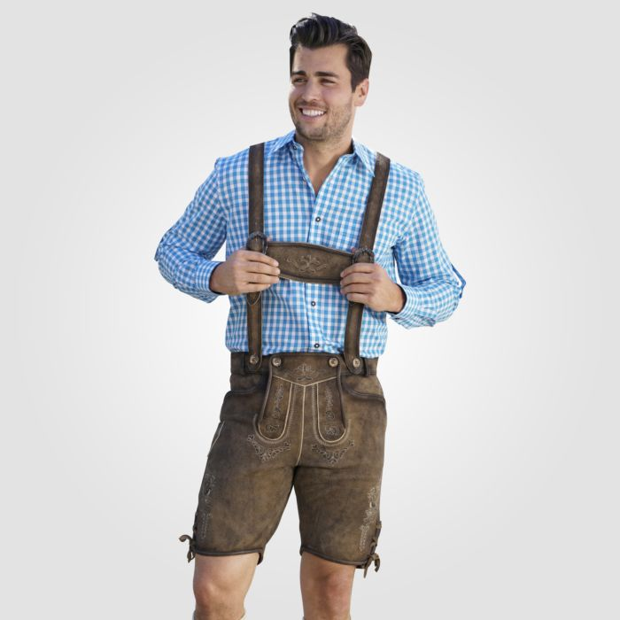 Pantalon bavarois court en cuir avec bretelles