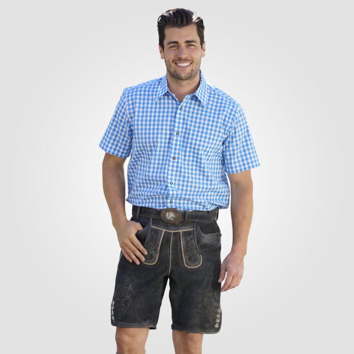 Pantalon bavarois court en cuir avec ceinture noir-brun