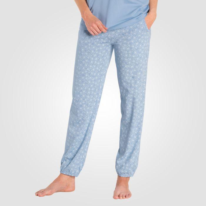 Loungewear Damen Hose hellblau Blumen