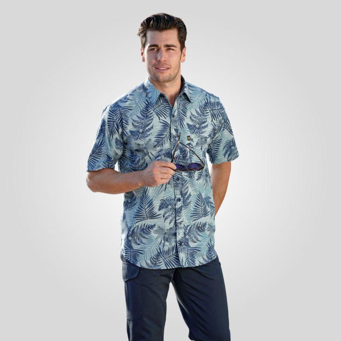 Kurzarmhemd mit floralem Print für Männer