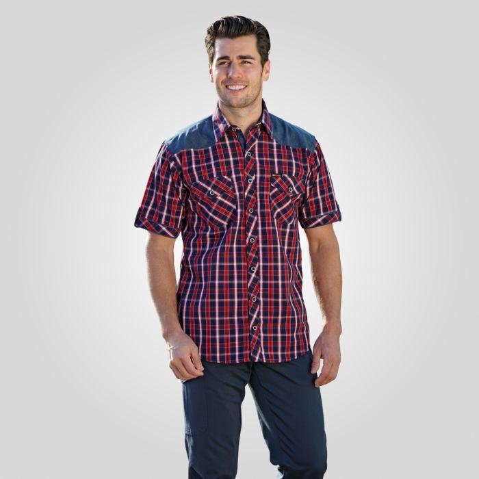 Chemise à manches courtes à carreaux, rouge