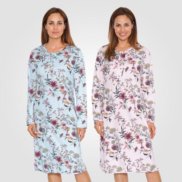 Chemise de nuit à motif fleuri, DUO-pack