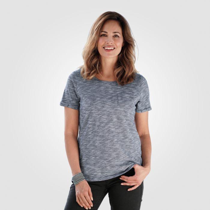 Leger geschnittes T-Shirt Melange-Optik