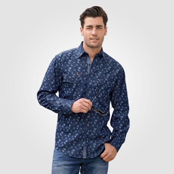 Herrenhemd langarm mit grafischem Print