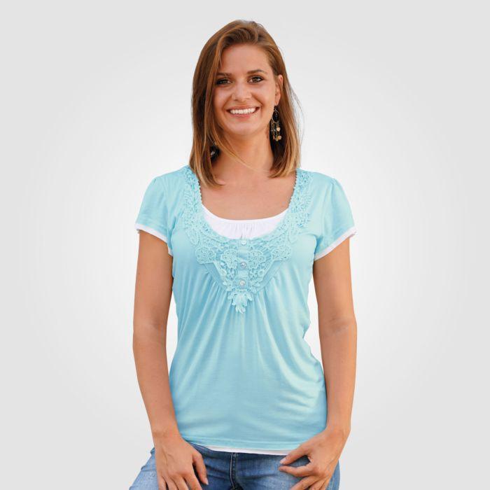 Shirt Replace avec empiècement au crochet dames
