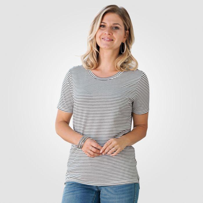 Damen T-Shirt schwarz-weiss gestreift