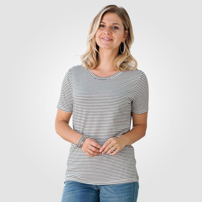 T-shirt dames à fines rayures noir-blanc