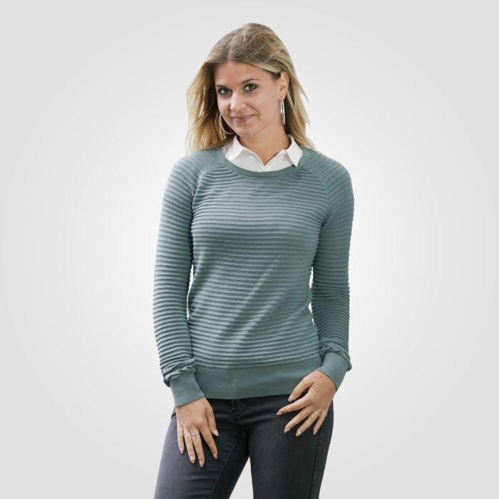 Pullover Damen 2 in 1 mit Blusenkragen