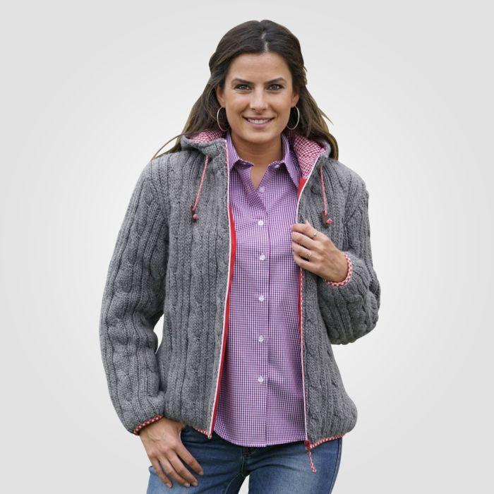 Veste en grosse maille à capuchon dames gris