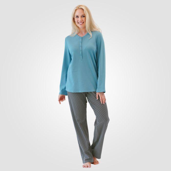 Pyjama Calida à patte de boutonnage et pantalon imprimé