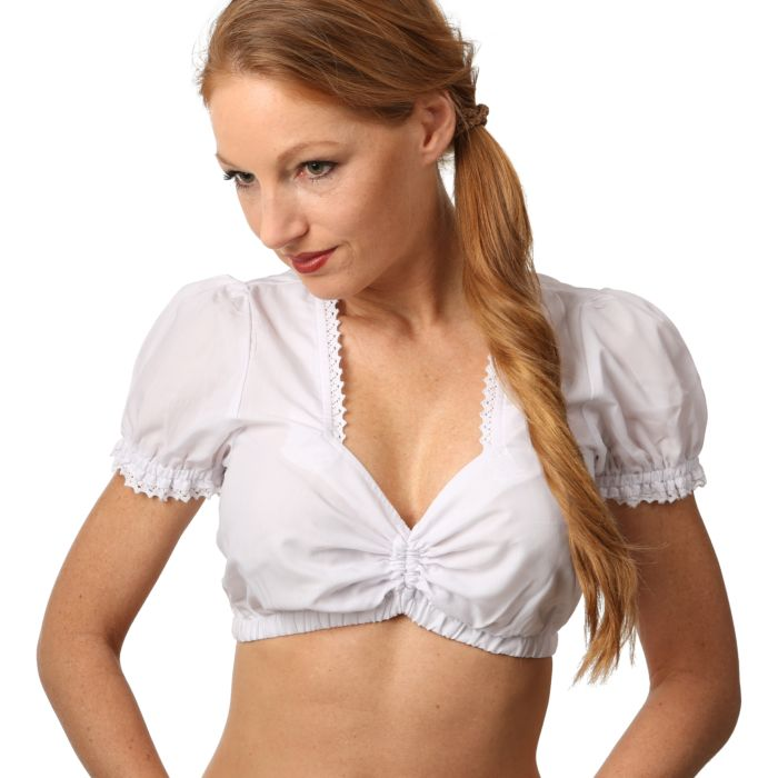 Blouse Dirndl blanche, manches courtes
