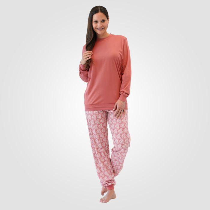 Calida Damen Pyjama rost mit Bündchen
