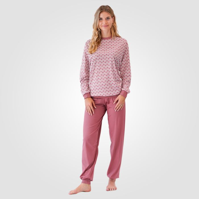 Pyjama Calida imprimé vieux rose-blanc pour dames