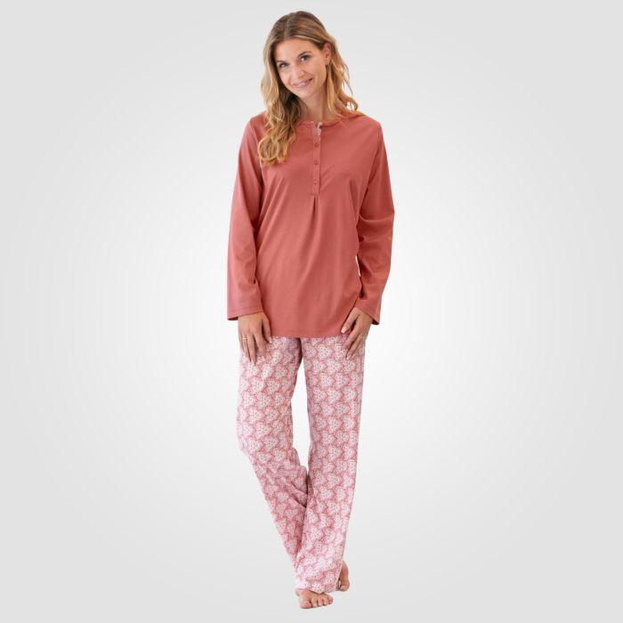 Pyjama Calida imprimé à manches longues rouille pour dames