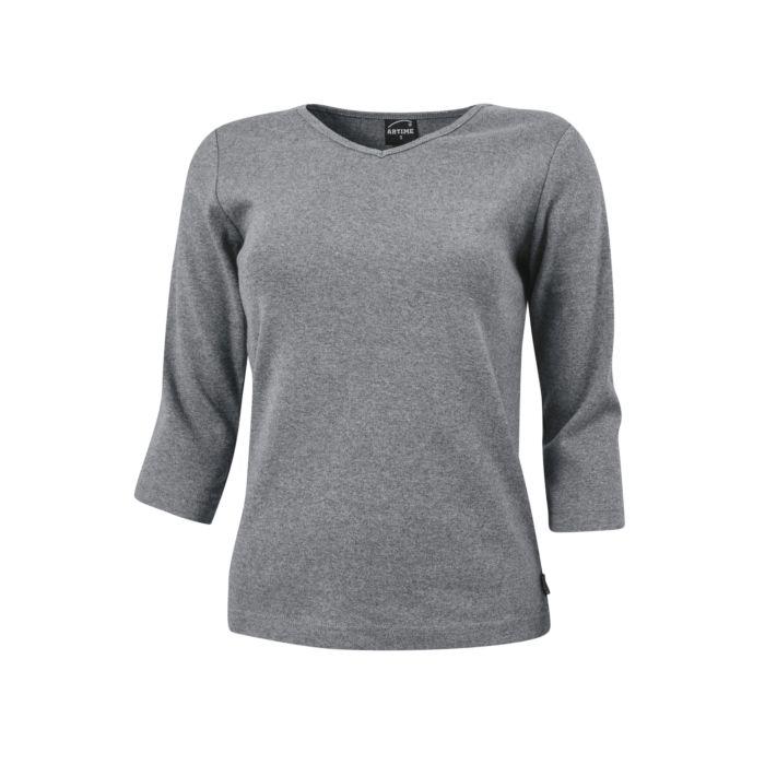 Shirt côtelé à manches 3/4 et encolure en V